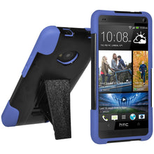 Load image into Gallery viewer, AMZER Double Layer Hybrid Case with Kickstand - Black/ Blue for HTC One M7