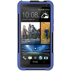 AMZER Double Layer Hybrid Case with Kickstand - Black/ Blue for HTC One M7