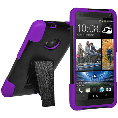 AMZER Double Layer Hybrid Case with Kickstand - Black/ Purple for HTC One M7
