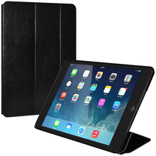 Load image into Gallery viewer, AMZER Shell Portfolio Case - Black Leather Texture for iPad Air