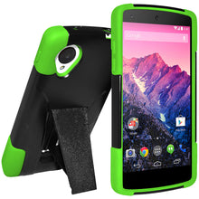 Load image into Gallery viewer, Amzer Double Layer Hybrid Case Kickstand Black Neon Green for LG Nexus 5 D820