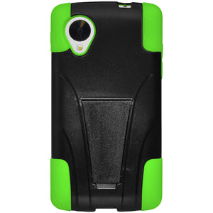 Amzer Double Layer Hybrid Case Kickstand Black Neon Green for LG Nexus 5 D820