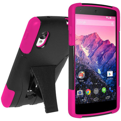 AMZER Double Layer Hybrid Case with Kickstand Black Pink for Google Nexus 5 D820