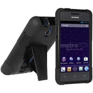 AMZER® Double Layer Hybrid Case with Kickstand - Black/ Black for Huawei Ace H881C