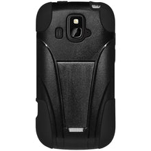 Load image into Gallery viewer, AMZER® Double Layer Hybrid Case with Kickstand - Black/ Black for ZTE Overture Z995