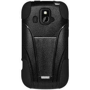 AMZER® Double Layer Hybrid Case with Kickstand - Black/ Black for ZTE Overture Z995
