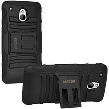 Load image into Gallery viewer, AMZER Hybrid Kickstand Case - Black/ Black for HTC M4