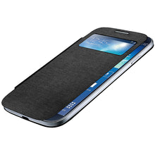 Load image into Gallery viewer, Amzer Flip Case with Swipe Window Black for Samsung Galaxy S4 GT-I9505 GT-I9500