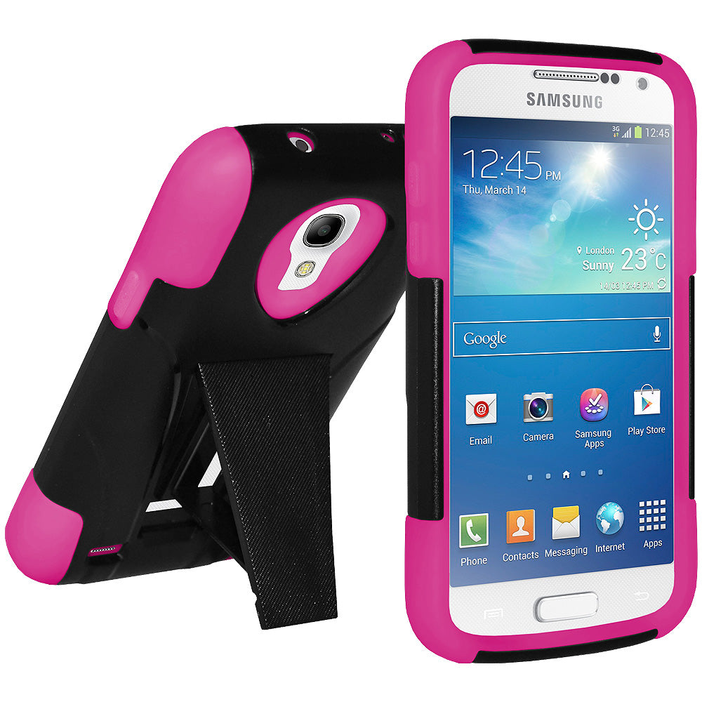 Amzer Double Layer Hybrid Case with Kickstand - Black/ Hot Pink for Samsung Galaxy S4 Mini GT-I9195, Samsung Galaxy S4 Mini GT-I9190, Samsung Galaxy S4 Mini Duos GT-I9192