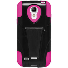 Load image into Gallery viewer, Amzer Double Layer Hybrid Case with Kickstand - Black/ Hot Pink for Samsung Galaxy S4 Mini GT-I9195, Samsung Galaxy S4 Mini GT-I9190, Samsung Galaxy S4 Mini Duos GT-I9192