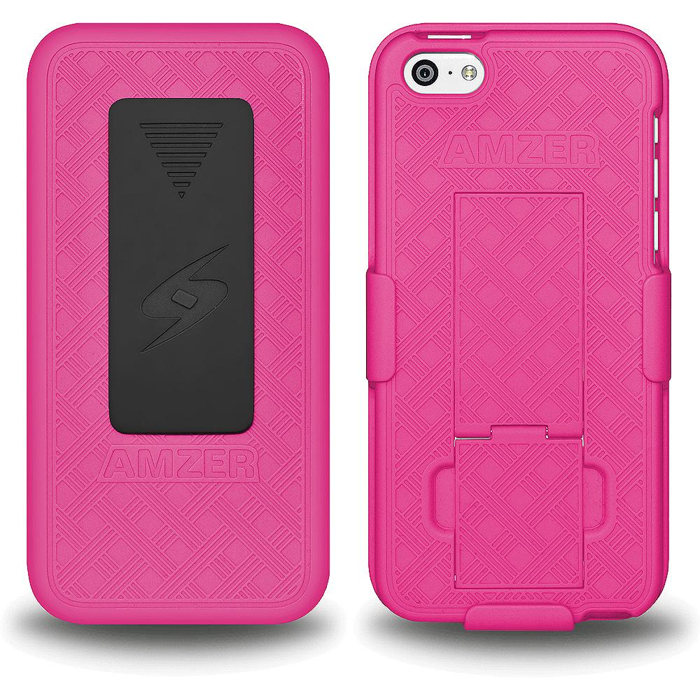 AMZER Shellster Hard Case with Belt Clip Holster for iPhone 5C - Hot Pink