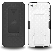 Load image into Gallery viewer, AMZER Shellster Hard Case with Belt Clip Holster for iPhone 5C - Black/White