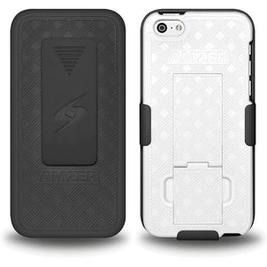 AMZER Shellster Hard Case with Belt Clip Holster for iPhone 5C - Black/White