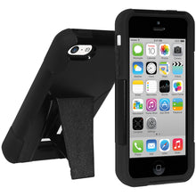 Load image into Gallery viewer, Amzer Double Layer Hybrid Case with Kickstand - Black/ Black for iPhone 5C
