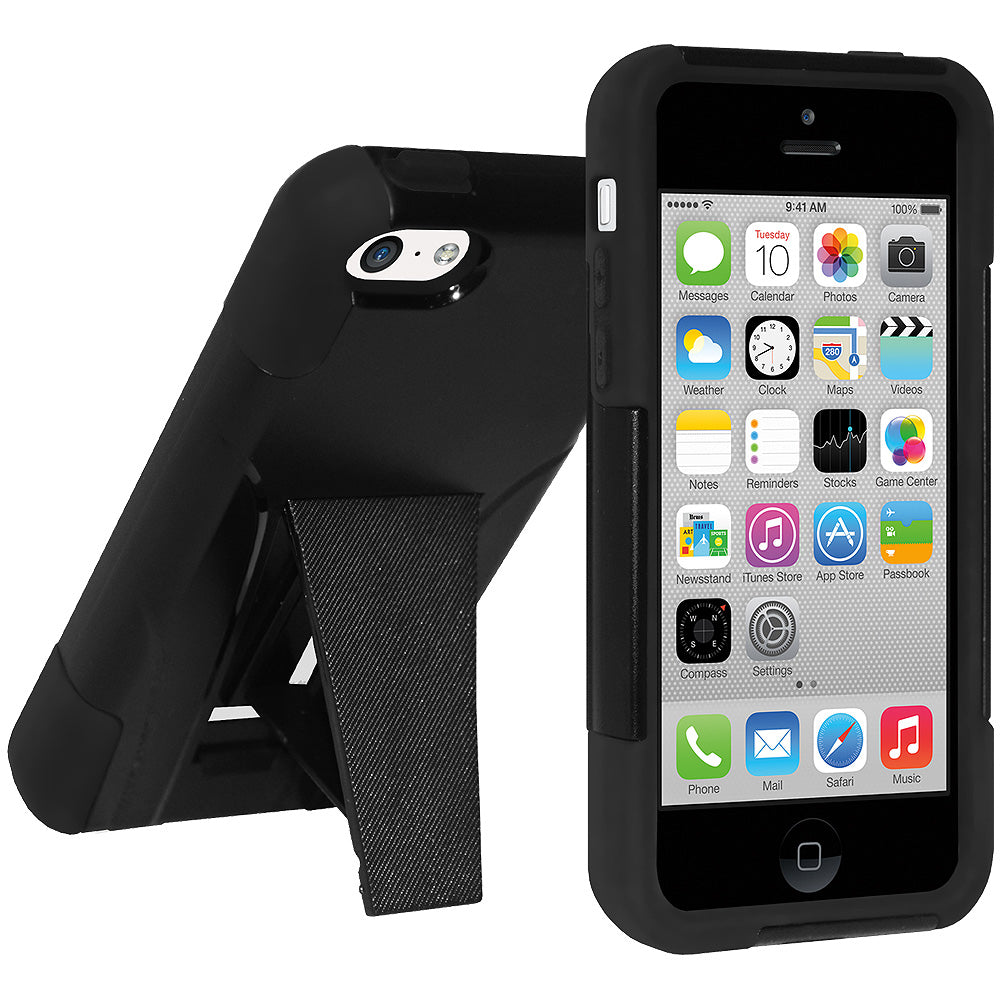 Amzer Double Layer Hybrid Case with Kickstand - Black/ Black for iPhone 5C