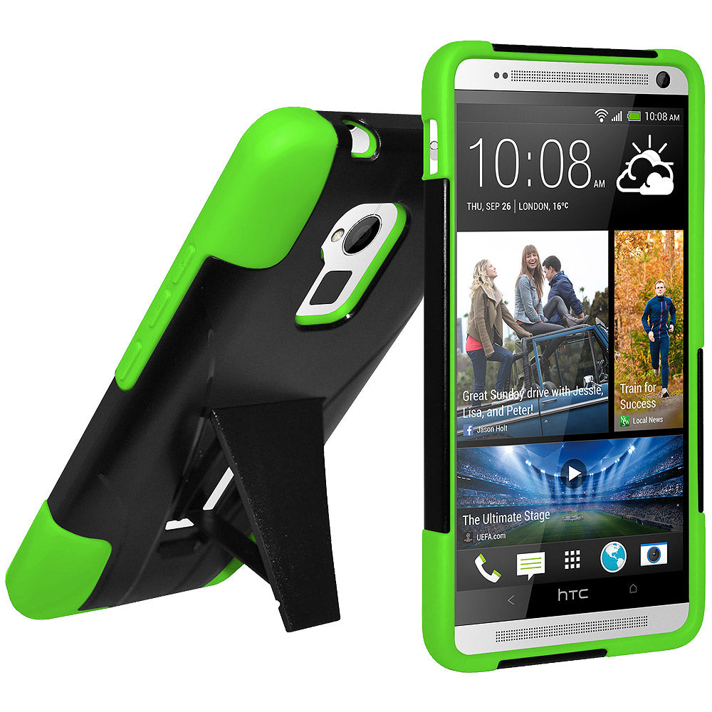 Amzer Double Layer Hybrid Case with Kickstand - Black/ Neon Green for HTC One Max