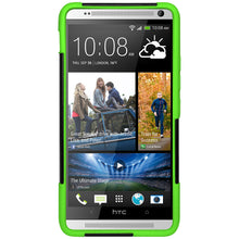 Load image into Gallery viewer, Amzer Double Layer Hybrid Case with Kickstand - Black/ Neon Green for HTC One Max
