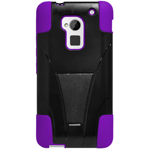 Amzer Double Layer Hybrid Case with Kickstand - Black/ Purple for HTC One Max