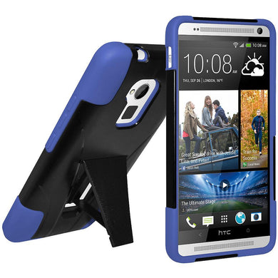 AMZER Double Layer Hybrid Case with Kickstand - Black/ Blue for HTC One Max
