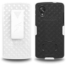 Load image into Gallery viewer, AMZER Shellster Hard Case with Belt Clip Holster for Google Nexus 5 - Black