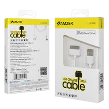 Load image into Gallery viewer, Amzer Apple MFi Certified 30-Pin to USB Sync & Charge Cable (3.2 Ft/1 M) - White
