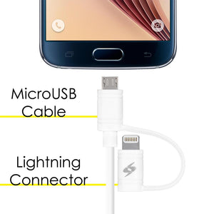 Amzer Apple MFi Certified 2-1 Sync & Charge Lightning cable with micro usb(3.2 Ft/1 M)-White