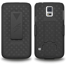 Load image into Gallery viewer, AMZER Shellster Hard Case  Belt Clip Holster for Samsung Galaxy S5 Neo - Black