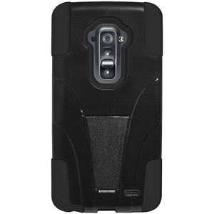 AMZER Double Layer Hybrid Case with Kickstand - Black/ Black for LG G Flex D958