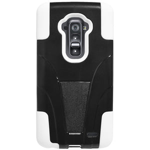 Amzer Double Layer Hybrid Case with Kickstand - Black/ White for LG G Flex D958