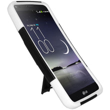 Load image into Gallery viewer, Amzer Double Layer Hybrid Case with Kickstand - Black/ White for LG G Flex D958