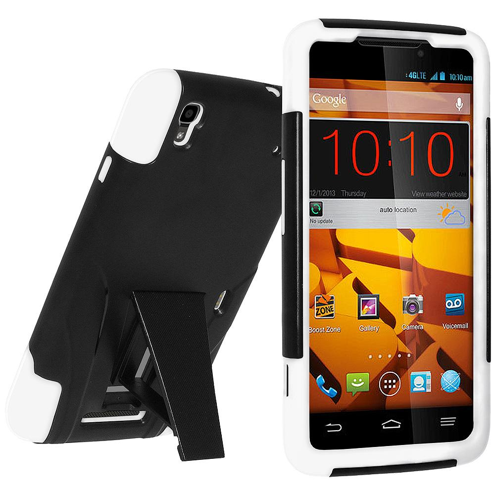 AMZER® Double Layer Hybrid Case with Kickstand - Black/ White for ZTE MAX N9520