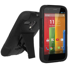 Load image into Gallery viewer, AMZER Double Layer Hybrid Case with Kickstand - Black/ Black for Motorola Moto G XT1032