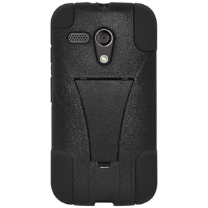 AMZER Double Layer Hybrid Case with Kickstand - Black/ Black for Motorola Moto G XT1032