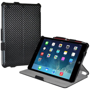 AMZER Shell Portfolio Case - Black Carbon Fiber Texture for Apple iPad mini