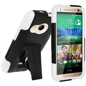 AMZER Double Layer Hybrid Case with Kickstand - Black/ White for HTC One Mini 2