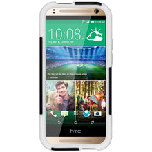Load image into Gallery viewer, AMZER Double Layer Hybrid Case with Kickstand - Black/ White for HTC One Mini 2