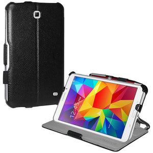 AMZER Shell Portfolio Case - Black Leather Texture for Samsung GALAXY Tab 4 8.0