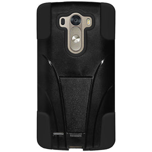 AMZER Double Layer Hybrid Case with Kickstand - Black/ Black for LG G3 mini D725