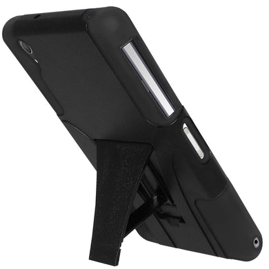 AMZER Double Layer Hybrid Case with Kickstand - Black/ Black for Sony Xperia Z2