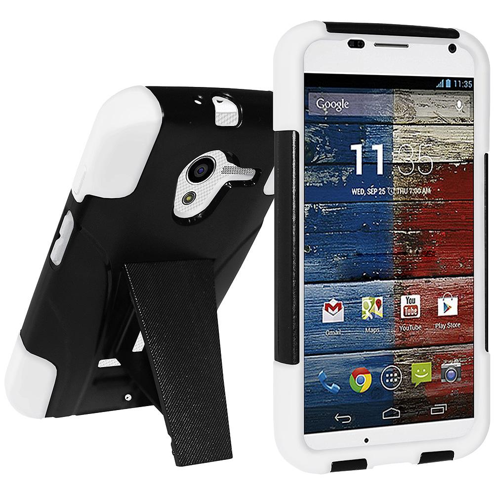 AMZER Double Layer Hybrid Case with Kickstand - Black/ White for Motorola Moto X XT1055