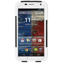 Load image into Gallery viewer, AMZER Double Layer Hybrid Case with Kickstand - Black/ White for Motorola Moto X XT1055