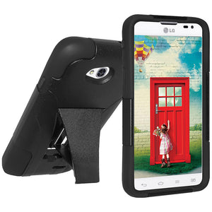 Amzer Double Layer Hybrid Case with Kickstand - Black/ Black for LG L70