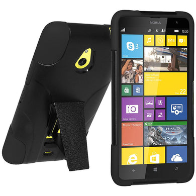 AMZER Double Layer Hybrid Case with Kickstand - Black/ Black for Nokia Lumia 1320