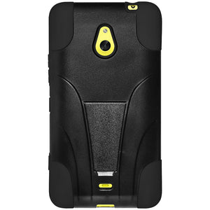 AMZER Double Layer Hybrid Case with Kickstand Black/ Black for Nokia Lumia 1320