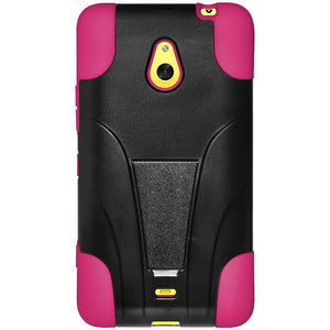 AMZER Double Layer Hybrid Case with Kickstand - Black/ Hot Pink for Nokia Lumia 1320