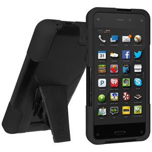 AMZER Double Layer Hybrid Case with Kickstand Black for Amazon Fire Phone