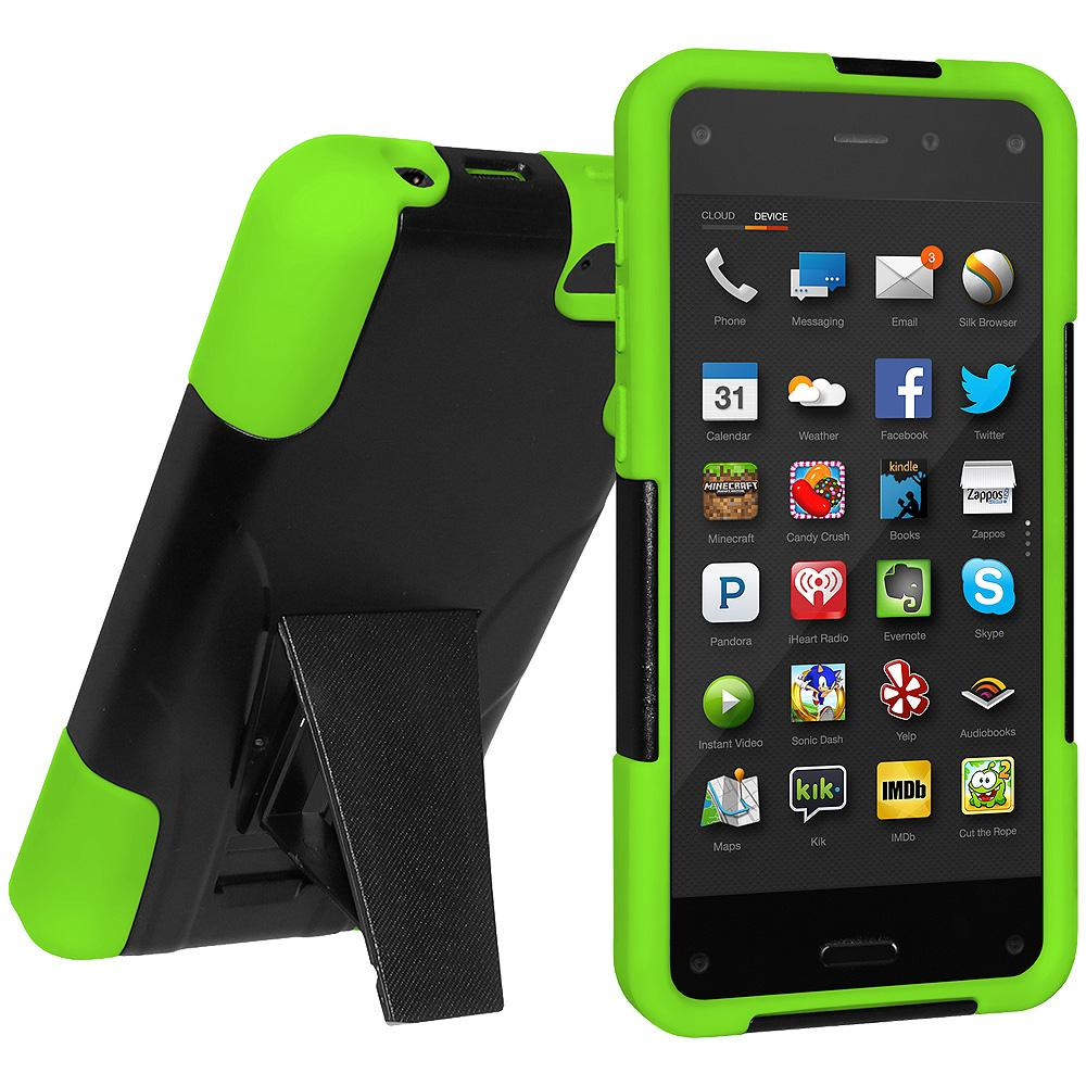 AMZER Hybrid Case with Kickstand - Black/ Neon Green for Amazon Fire Phone