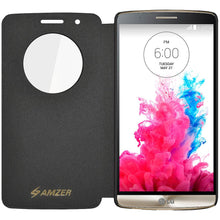 Load image into Gallery viewer, AMZER Flip Case with Quick Circle View - Black for LG G3 D852