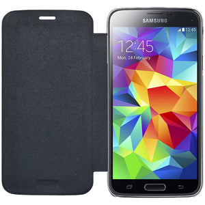 AMZER Flip Case - Black with Clear PolyCarbonate for Samsung GALAXY S5 mini SM-G800