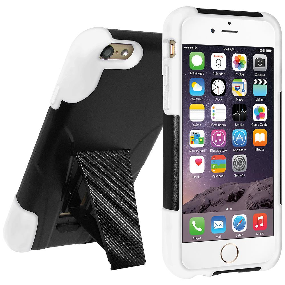 AMZER Double Layer Hybrid Case with Kickstand - Black/ White for iPhone 6
